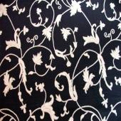 Crewel Fabric Winter Tine Cork  Black Cotton Fabric