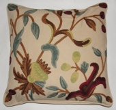 Crewel Pillow Golden Rain Tree Cotton Duck