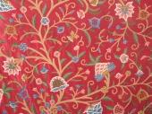 Crewel Fabric Zooni Danzdaar Bush Red Cotton Duck