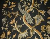 Crewel Fabric Night Blooming Cereus Black
