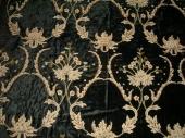 Crewel Fabric Renaissance Black Vine Rayon Cotton