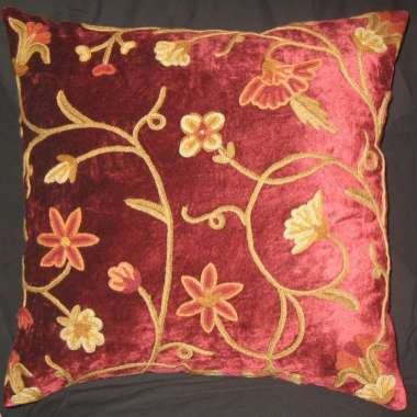 Crewel Pillow Jane Design on rayon color velvet